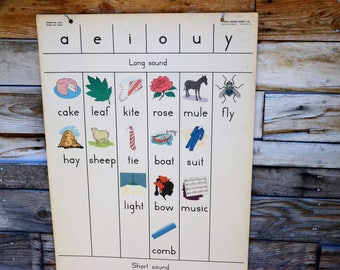 Vowel Key Chart No. 274J | Vintage 1950's Elementary School Chart | Old School Teaching Poster | Ideal School Supply Company Chicago Il