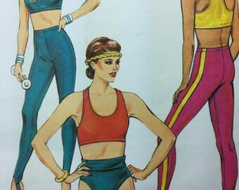 Kwik Sew 1567 Misses' Sports Bra, Trunks and Tights Pattern Sizes XS, S, M, L uncut from 1986