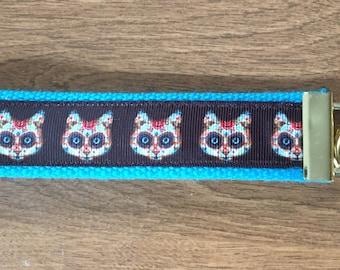 Sugar Skull Cat Kitten Key Chain Zipper Pull Wristlet