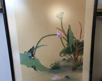 Vintage bird painting Lotus Flower Hand Painted PAINTING on SILK Brocade Border bamboo frame Chinese bird painting silk art