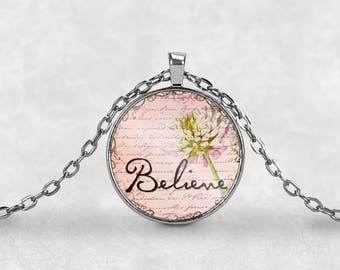 Believe•Inspirational•Religious•Spiritual•Faith•Gift under 20•Gift for Her•Encouragement•Believe Charm•Necklace•Motivational•Keyring