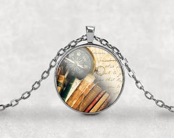 Bibliophile•Librarian Gift•Librarian•Bookworm•Literary Gift•Book Lover Gift•Vintage Book Pendant•Bookworm Gift•Book Necklace•Book Lover