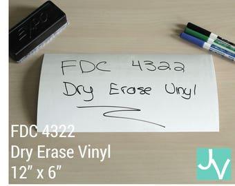 "Dry Erase / Whiteboard Vinyl FDC 4322 - 1 Sheet of 12"" x 6"""