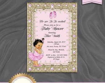 ballerina baby shower invitation tutu baby shower invitation baby girl pink gold