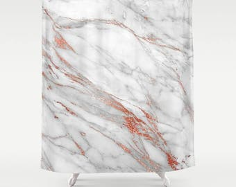 marble shower curtain rose gold girls bathroom decor pink