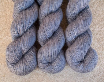 Hand Dyed Yarn Baby Alpaca/Silk/Linen 50/25/25 Fingering Weight - 4ply - 100 grams - 400m/440yards - OOAK Gray