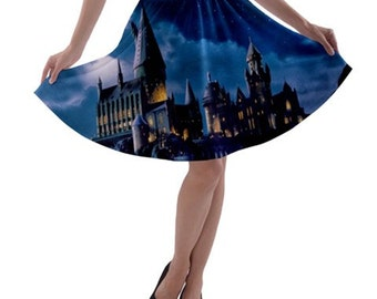 S- 3XL Harry Potter inspired Hogwarts castle Circle Skirt