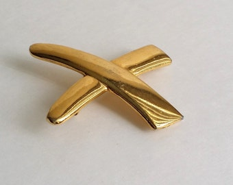 "Beautiful Vintage Gold Tone ""X"" Crossing Pin Brooch"