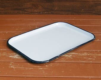 Enamel Tray, Enamelware Tray, Black & White Tray, Vintage Enamel Tray, White Enamel Serving Tray