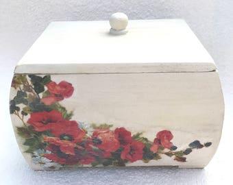 White Box, storage box, poppy home decor, Pink Decor, Memory Box, Trinket Box, Dressing Table box, Wooden Box, flower box, jewellery box
