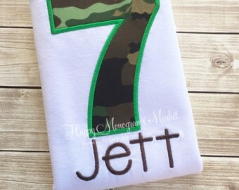 Camouflage Letter or Number Birthday Appliqué Shirt TShirt Bodysuit Army Man Theme Military colors Embroidered Monogrammed Top Girl or Boy