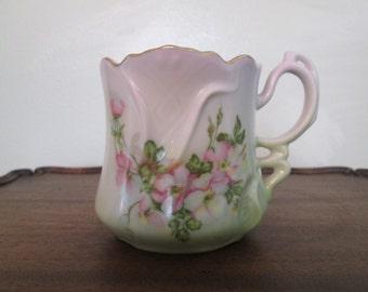 Reproduction Shaving Mug/Victorian Style/Hand Painted Wild Roses  Circa 1960's  #16201