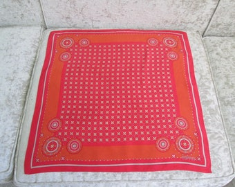 Vintage Esprit Geometric Foulard Print Scarf/ Orange/Red/White  #17096