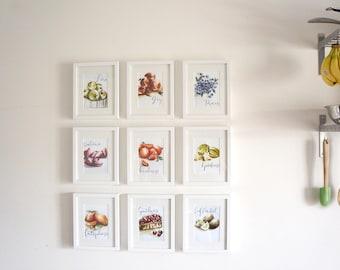 ENTIRE SET   Fruit of the Spirit Series   all nine 5 x 7 watercolour prints   kitchen art, illustration art, art under 50