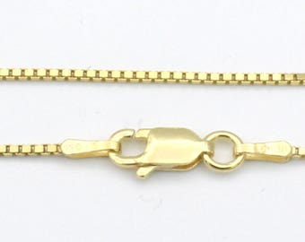 "20"" 14k Sterling Silver Yellow Gold Plated Box Chain"