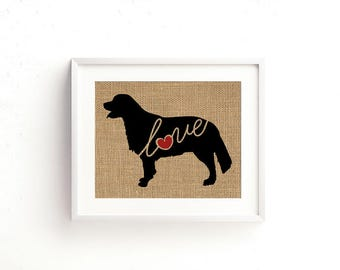 Golden Retriever Love - Burlap or Canvas Paper Dog Breed Wall Art Decor Print - Gift for Dog Lovers - Can Be Personalized w/ Name (101s)