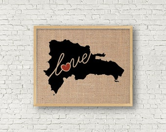 Dominican Republic Love - Burlap or Canvas Paper State Silhouette Wall Art Print / Home Decor (Free Shipping)