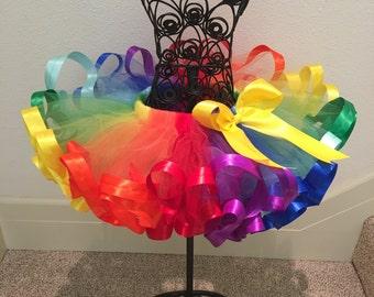 Fluffy Rainbow Ribbon Tutu, Multi-Colors Ribbon Tutu, Sewn Ribbon Trimmed Tutu, Tutu Skirt, Tutu For Girl's Party/Birthday
