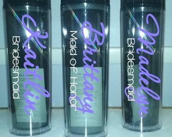 Personalized wedding Tumbler, set of 8 Bridesmaid tumbler p22, Personalized Tumbler, Personalized Cup, Wedding Gift,Bridal Tumbler