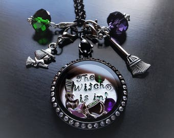 The Witch Is In Floating Locket Necklace-Includes Pretty Palazzo Exclusive Charm Designs-Gift Idea