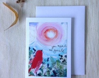 You make me smile | greetings card | bird | kindness