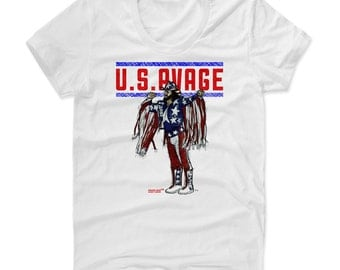 Macho Man Randy Savage Sketch USA R Pro Wrestling Officially Licensed Womens Scoop Neck T-Shirt S-XL