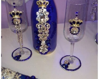 Quinceanera Champagne Set Royal Blue with Crowns.
