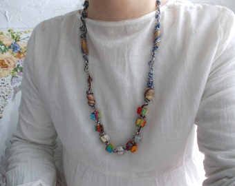 Long necklace with colorful handmade beads...OOAK...Silver chain...Handmade beads made of leaves...Beige...Turquoise