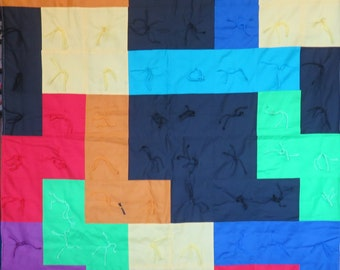 Tetris Throw Quilt Tan Backig