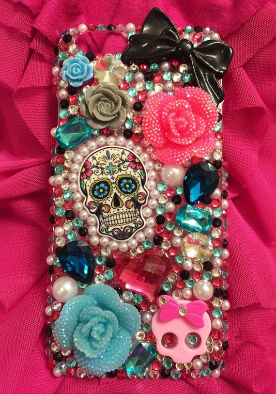 Day of the dead skull bling phone case, sugar skull phone case, pink aqua bling phone case