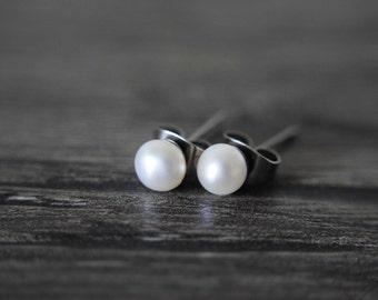 Grade A pearl ear studs, White pearl ear studs, Natural pearl ear studs, Wedding ear studs, Bridesmaid ear studs, Pearl earrings.