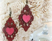 VALENTINE HEARTS on Red Filigree Earrings Drop Earrings Statement Earrings Red Earrings Heart Earrings