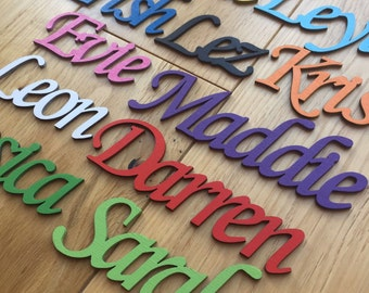 Script Font, Personalised wooden names, door plaques,Laser cut,only 99p per letter, personalised to suit, hand made, wall art and door craft