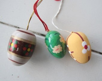 Three tiny hand painted eggs. Easter decor!