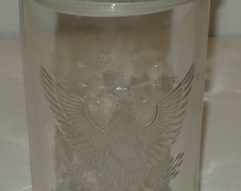Vintage Clear Glass  Cookie Jar Eagle Pattern 8 1/2 Inch Canister with Lid Catch All