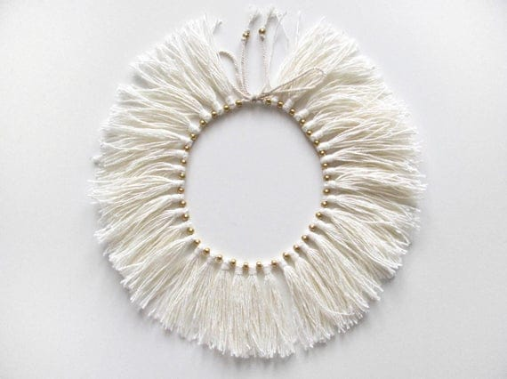 "Full Fringe Choker with brass beads, ""Cream"""