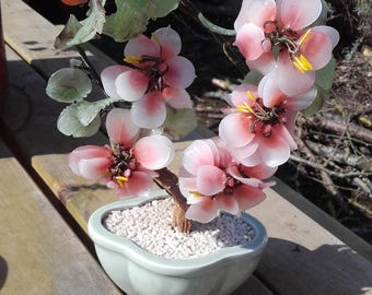 Vintage Mid Century 1950's Pink Glass Bonsai Cherry blossom Tree