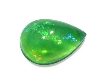 Ethiopian Welo Green Opal Pear Cabochon Loose Gemstone 1A Quality 7x5mm TGW 0.30 Cts.