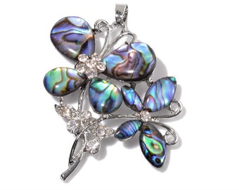 Abalone Shell, Austrian Crystal Silver-tone Butterfly Pendant Without Chain TGW 11.00 cts.