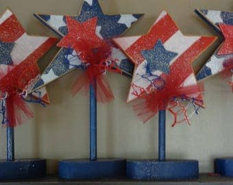 Summer Decor-4th of July- USA Decor-Americana decor- Stars on stand set of 2