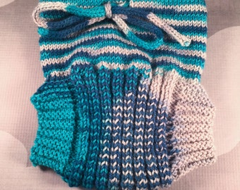 Medium Hand Knit Wool Soaker - Wool Diaper Cover - Diaper Cover - Blue Wool Diaper Cover