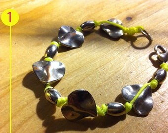 Handmade bracelets with cotton fluo and silver nuggets