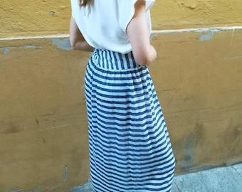 High waist skirt-striped long jersey, craft,