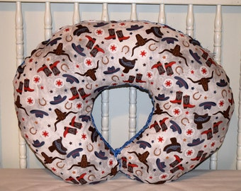Western Cowboy Rodeo Cotton and Blue Bandana Boppy Cover