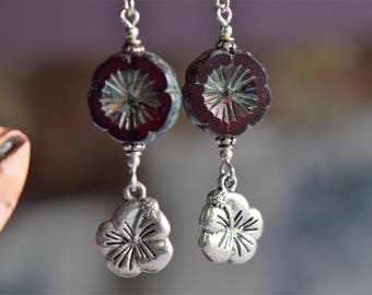 Deep Red Floral With Dangle Earrings (23)