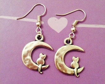 Cat on Moon Earrings Magicalmooncats