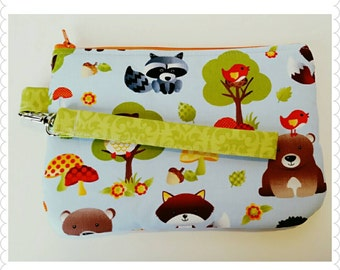 Ready to ship, Woodlands wristlet, zipper pouch, coin purse, or phone case
