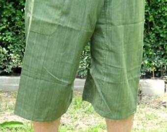 Yoga Fisherman Pants Thai Pants Capri Fisherman Thai Fisherman Pant Wrap Yoga Pants Short Hippie Pants Burning Man Free Shipping*CF-W* green