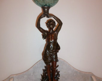 Antique French spelter sculpture statue figural oil lamp signed BRUCHON c. 1890