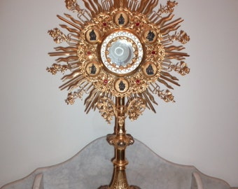 Religious art stunning antique Neo Gothic French church brass Monstrance with figural cameos and stones circa 1911